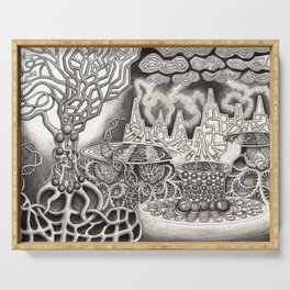 BioTechnological DNA Tree and Abstract Cityscape Serving Tray