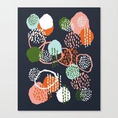 Jonlee - abstract painting watercolor pastel brushstrokes black yellow modern minimal shapes circles Canvas Print