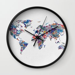 Moroccan Tile Mosaic Pattern World Map Art Wall Clock