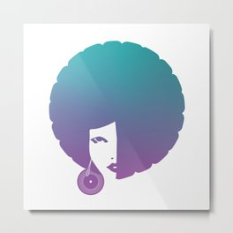 Funky Girl With Afro Hair Metal Print