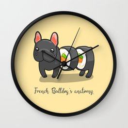French bulldog maki sushi Wall Clock