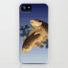 Hokusai – two carps -葛飾 北斎,engraving,carpa, fish. iPhone Case
