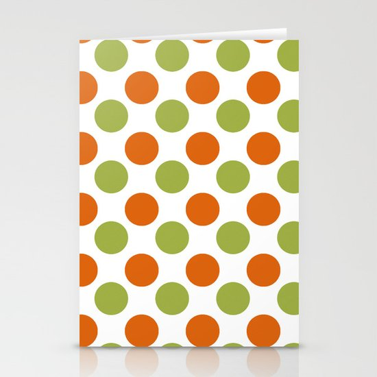 Green Orange Dots Stationery Cards