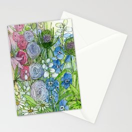 Rainbow Garden Watercolor Ink Painting Stationery Cards