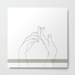 Hands line drawing illustration - Abi stripe Metal Print