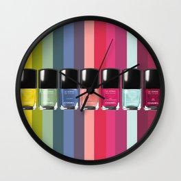 C-H-A-N-E-L Designer Nail Polish Print Wall Clock