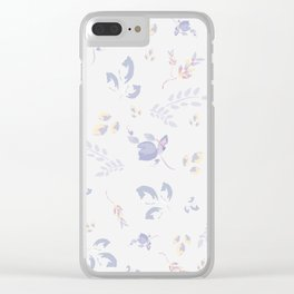 Spring watercolor leaves & tulips on white background Clear iPhone Case