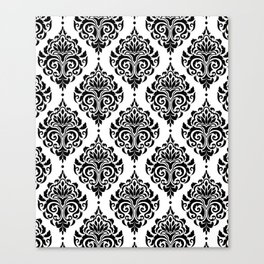 Black and White Damask Canvas Print