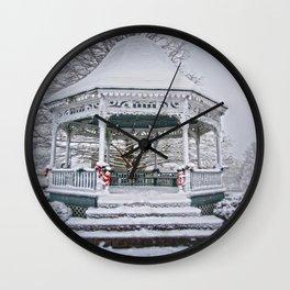 Gazebo in the Snow Wall Clock