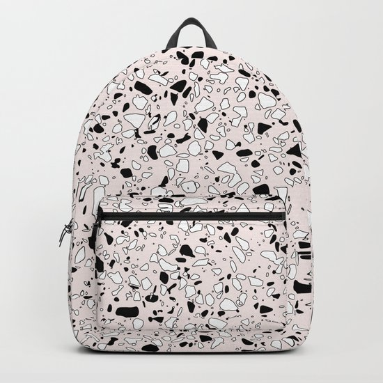 'Speckle Party' Pink Black White Dots Speckle Terrazzo Pattern Backpack