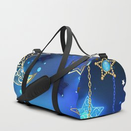Gold Crescent on Blue Background Duffle Bag
