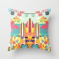 tiki Throw Pillows featuring Tiki by Claire Lordon