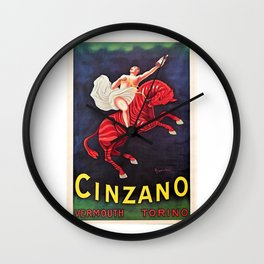 Vintage Cinzano Vermouth Red Zebra Advertising Wall Art in full color Wall Clock