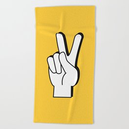 Peace Sign yellow Beach Towel