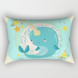 Pretty Princess Narwhal Rectangular Pillow
