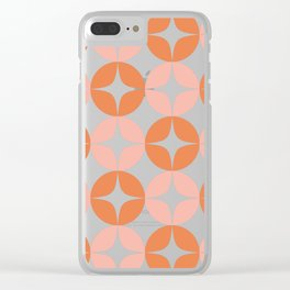 Mid Century Modern Motif Pattern in Burnt Orange and Blush Clear iPhone Case