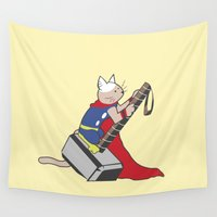 thor Wall Tapestries featuring The Catty Thor by Kyle Walters