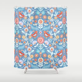 Happy Folk Summer Floral on Light Blue Shower Curtain