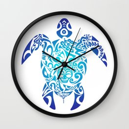 Tribal Sea Turtle Ocean Blue Hawaii Polynesian Maori Wall Clock