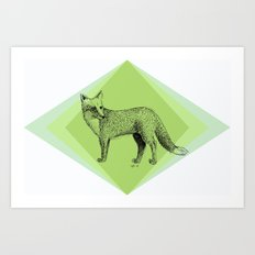 fox in forest Art Print