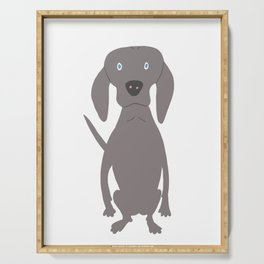 Weim I So Cute Grey Ghost Weimaraner Dog Hand-painted Drawing Serving Tray