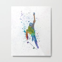Man skateboard 04 in watercolor Metal Print