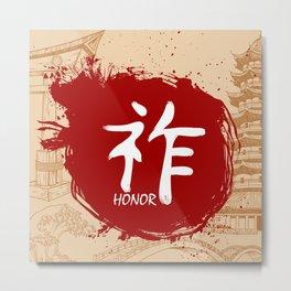 Japanese kanji - Honor Metal Print