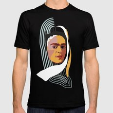 Abstract Frida Kahlo  MEDIUM Black Mens Fitted Tee
