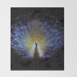 Majestic White Peacock ~ yo͞onəˌvərs Throw Blanket