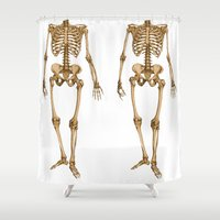 skeleton Shower Curtains featuring Skeleton  by Barbo's Art