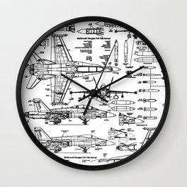 F-18 Blueprints Wall Clock