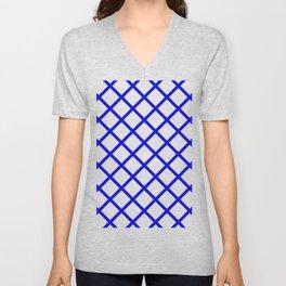 Criss-Cross (Blue & White Pattern) Unisex V-Neck