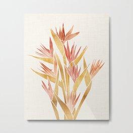 Deco Flowers ~ Metallic Birds of Paradise Metal Print