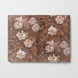 """White roses"" hand drawn vintage floral pattern in earth colors Metal Print"