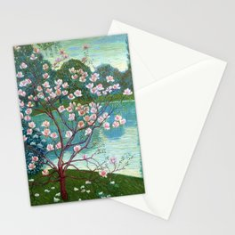 Springtime Pink Magnolias by the Kettle Pond landscape by Wilhelm List Stationery Cards