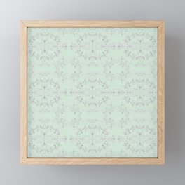 silver filigrane- floral design-tapestry and home decor-romantic-aqua Framed Mini Art Print