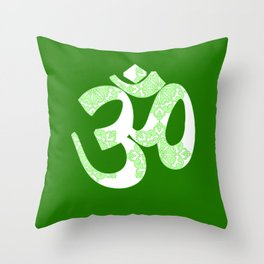 Start your day with OM on Green Colour Throw Pillow