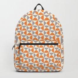 Orange and Gray Retro Minimalist Geometric Pattern Backpack