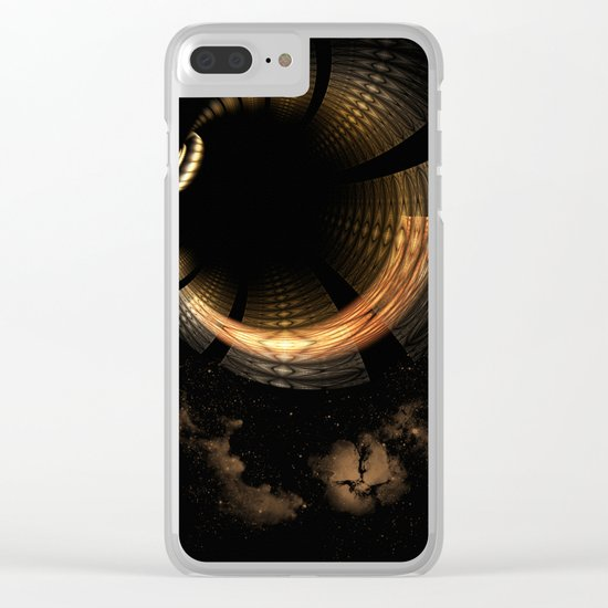 Fractal Solar Eclipse Clear iPhone Case