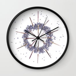 nature mandala... sea hedgehog spines, lavender buds Wall Clock