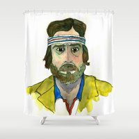 tenenbaum Shower Curtains featuring Richie Tenenbaum by Tessa Heck