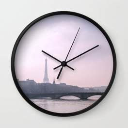 Eiffel Tower overlooking the Seine at Sunset Wall Clock