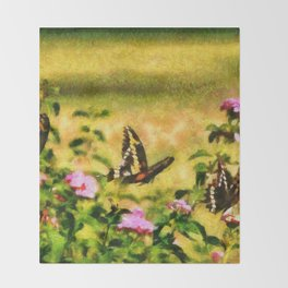 Three Giant Swallowtails - Monet Style Throw Blanket