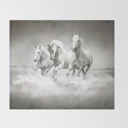 Wild White Horses Throw Blanket