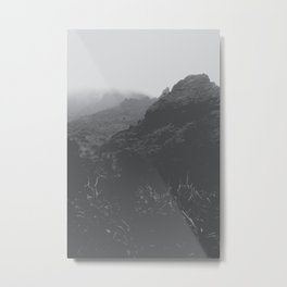 mountain in the forest with foggy sky in black and white Metal Print