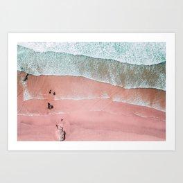 Beach Wall Art, Pink Beach Print, Aerial Beach Photography, Aerial Beach, Bondi Beach, Coastal Print Art Print
