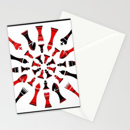Red/Black Chessmen Stationery Cards