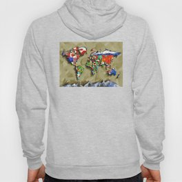 world map with flags vintage 2 Hoody