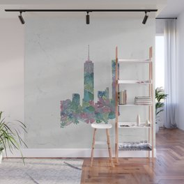 One World Trade Center Floral New York City Skyline Wall Mural