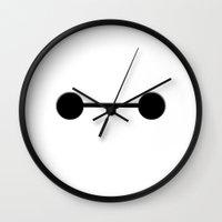baymax Wall Clocks featuring Baymax by Expired Kimchi